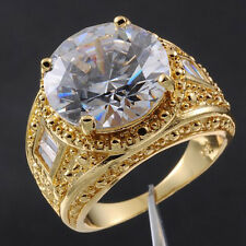 Size 9-13 Valuable Mens Jewelry White Sapphire 18K Yellow Gold Filled Huge Ring
