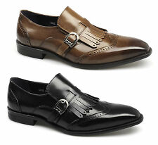 Gucinari Mens Leather Buckle Brogue Fringe Square Toe Wingtip Formal Smart Shoes