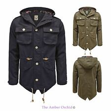 MENS BRAVE SOUL NEW MILITARY TARTAN HOODED PARKA COTTON FISHTAIL JACKET COAT