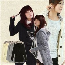 Fashion Women Girl Hooded Winter Cardigan Sweater Knitted Coat Knitwear With hat