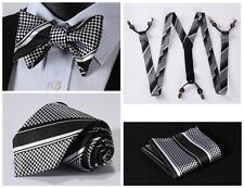 6S01L Black White Stripe Silk Tie Handkerchief Suspenders Self Bow Tie Set