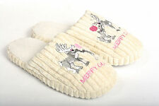 NEW WOMEN'S WARM AND COZY REINDEER HOUSE SLIPPERS, SHOE'S, SCUFFS, SIZE 6 - 11