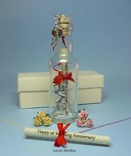 1ST WEDDING ANNIVERSARY MESSAGE IN A BOTTLE GIFT WITH DETACHABLE CLIP ON CHARM