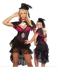 Black and Pink Burlesque Victorian Skull Christmas Fancy Dress Costume M-XXXL