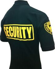 SECURITY POLO SHIRT DELUXE NEW 100% COTTON NAVY OR BLACK WITH GOLD LETTERS