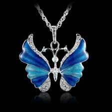 Womens Charm Silver Rhinestone Crystal Butterfly Pendant Necklace Sweater Chain