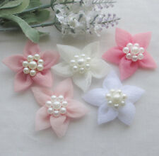 10/20/100pcs Organza Ribbon Flowers handicraft W/Pearl wedding decoration E237