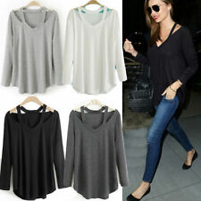 Women Cotton Soft Long Sleeve V Neck Loose Solid Casual T-Shirt Tee Tops Blouse