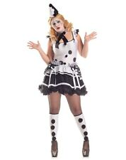 Sexy Pierrot Sad Clown Black White Adult Womens Costume Plus Size NEW