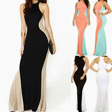 Women Black White Swerve Halter Cocktail Party Formal Maxi Evening Long Dress
