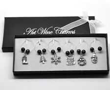 Wholesale lots Christmas Wine Glass Charms Table Decorations 53x25mm-56x25mm