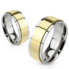 Stainless Steel Unisex Ring Gold Plated Rotating Bezel New - Jewelry By Coolbody