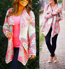 Neon Pink Grey Tribal Aztec Southwestern Asymmetric Open Cardigan Sweater NWT
