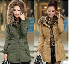 New Women's Hooded Fur Collar Fleece Lined Thicken Cotton Padded Jacket Parka