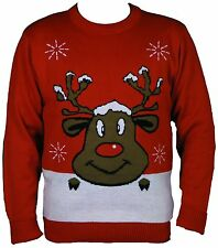 Mens Womens Novelty Rudolph XMas Crew Neck Retro Knitted Pattern jumper S to 7XL