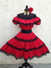 MEXICAN FIESTA,5 DE MAYO DRESS OFFSHOULDER W/RUFFLE 2PIECE w/SMALL BLACK SASH