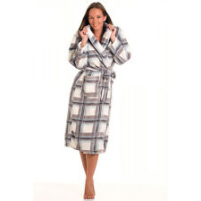 Ladies Lightweight Warm checker Print Fleece Wrap Over Dressing Gown Bathrobe