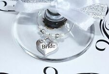 Wedding Wine Glass Charms -Top Table -  White -  Choice of Charms/Colours