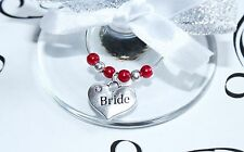 Wedding Wine Glass Charms -Top Table - Red -  Choice of Charms/Colours