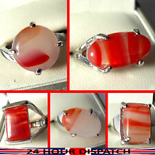 Ladies Mens ring with Natural Agate gemstone & silver plated metal