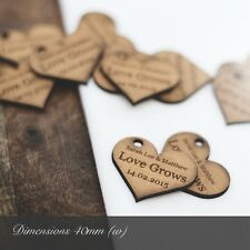 Personalised 4cm Iroko Wooden Heart Wedding Favours, for Invites or Decorations.