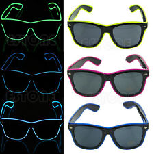 El Wire Glow Sun Glasses Led DJ Bright Light Safety Light Up Multicolor Frame