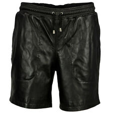 VIPARO Mens Black Soft Lambskin Leather Shorts - SH1