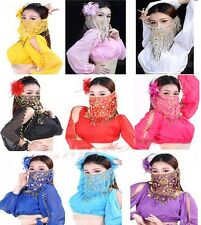 Sexy Mysterious Lady Belly Dance Dancing Face Veil Voile Sequin Bead Wrap Scarf