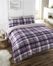ANGUS CHECK STRIPES REVERSIBLE 100% BRUSHED COTTON FLANNELETTE THERMAL BEDDING