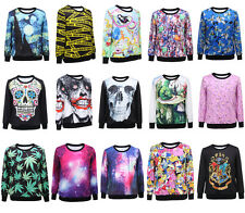 Starry Night Cartoon Harajuku Batman Print Loose Sweatshirt Hoodies Tops Jackets