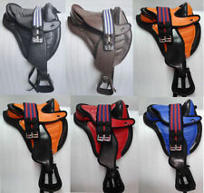 New Genuine Synthetic Treeless Saddle Many Colors with Western Fender Free Girth