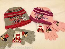 disney minnie mouse kids girls hat pull on hats & gloves grey red pink 2-8yrs