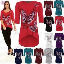 Womens Ladies 3/4 Sleeves Butterfly Print Dip Hem High Low Tunic Top Plus Size