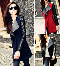 Winter Womens Long Warm PU Leather Sleeve Jacket Coat Parka Trench Windbreaker