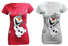 Womens Ladies Short Sleeve Xmas Frozen Olaf  Print Crew Neck T Shirt Top UK 8-26