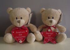 Personalised Baby's 1st First Christmas Gift Teddy Bear With Tree Decoration