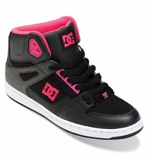 NIB WOMENS DC -REBOUND HIGH TOP- BLACK/FUCHSIA SKATE SHOES