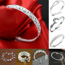 Hot Sale Fashion Solid 925 Silver Plated Chain Link Bangle Bracelet for Women