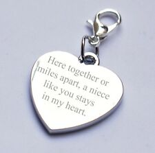 Engravable Personalised Heart Charm for Niece any text/message/wording gift