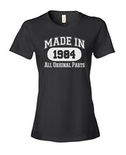 MADE IN 1939-1998 Any Year Birthday Ladies' Women's Fashion Fit T-Shirt Black