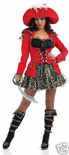 Costume Glitzy Pirate Wench Ladies Women Sexy Red Black Gold w/ Hat Fancy Dress