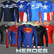 Men Alter Ego Compression Superman Batman Spiderman Ironman Long Sleeve T-Shirts