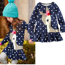 Deer Polka Dots Girl Dress Children Kids Clothing Long Sleeve Top T-Shirt 1-7Y