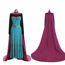 Frozen Anna Princess Costume Cosplay Dress Tops Cloak For Adult 6 8 10 12 14 16