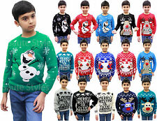 Boys Girls Unisex Kids Sweater Olaf Novelty Knitted Winter Christmas Jumper Tops