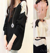 Womens Lace Long Sleeve Knitted Comfy Jumper Loose Sweater Knitwear Top One size
