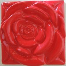 The Red Rose Tile-Kitchen backsplash Red Roses in Relief Appearance of Wallpaper