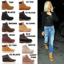 LADIES WOMENS ANKLE BOOTS LACE UP CASUAL RUBBER GRIP GIRLS FASHION SHOES SIZE