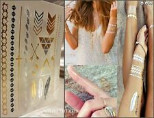 METALLIC TEMPORARY TATTOOS GOLD BLACK SILVER ARM BAND HAND JEWELRY USA SELLER