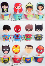 24 Lot Disney Heroes Princesses Cupcake Wrappers Toppers Party Decors Birthday